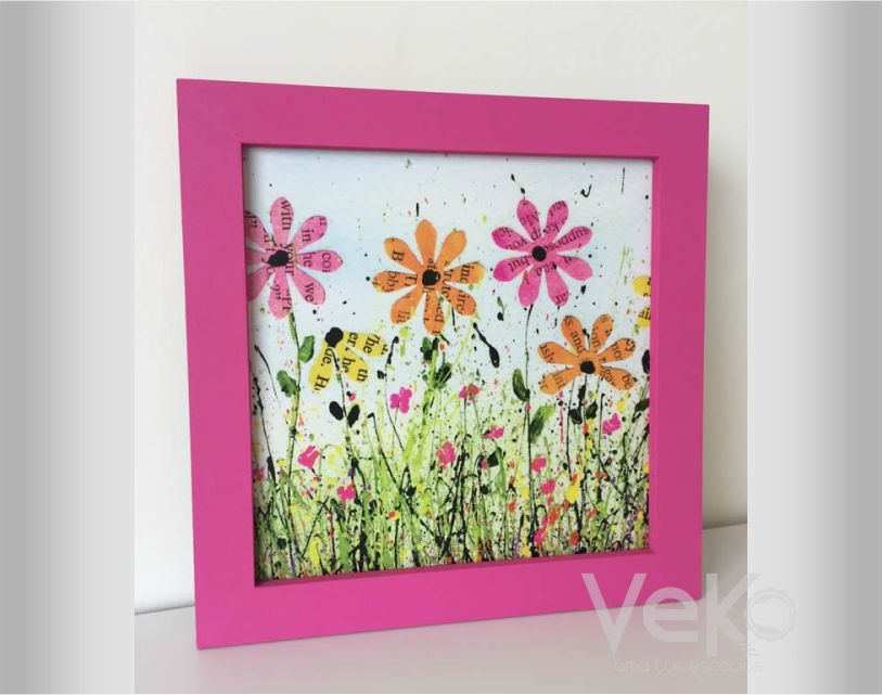 cuadros : cuadro flores artísticas marco fucsia