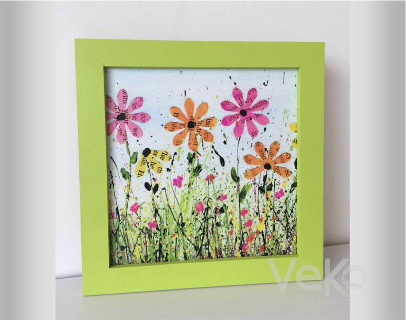 cuadros : cuadro flores artísticas marco verde